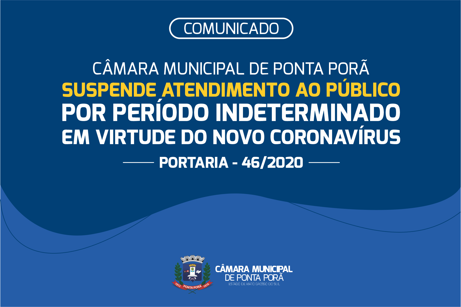 Câmara de Ponta Porã suspende atividades como forma de prevenção ao coronavírus